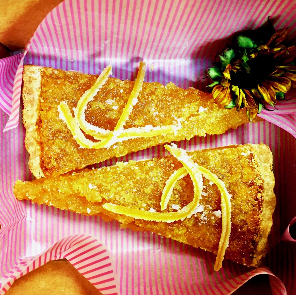 Treacle tart with candied orange