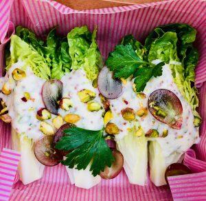 Baby gem salad with vegan dressing